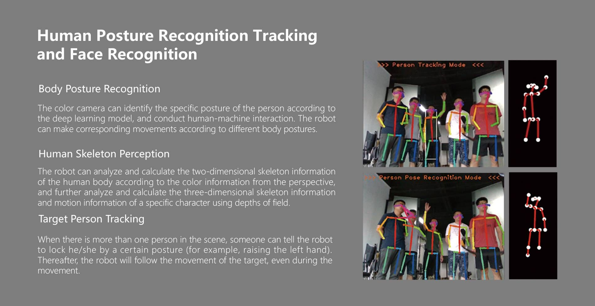 Human Posture Recognition Tracking and Face Recognition